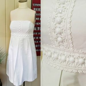 Lily Pulitzer | 4 white strapless dress embroidery